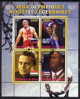 Benin 2008 Famous Olympic Athletes #1 perf sheetlet containing 4 values, fine cto used