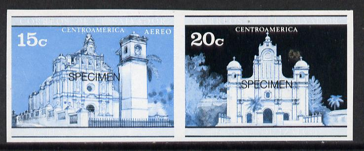 El Salvador 1971 Churches 20c Postage & 15c Airmail imperf proofs in blue & black colours only in se-tenant pair optd SPECIMEN unmounted mint, as SG 1370 & 72