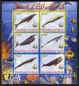 Benin 2008 WWF - Whales perf sheetlet containing 6 values, unmounted mint