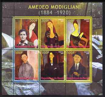 Benin 2008 Amedeo Modigliani perf sheetlet containing 6 values, unmounted mint
