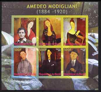 Benin 2008 Amedeo Modigliani imperf sheetlet containing 6 values, unmounted mint