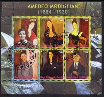Benin 2008 Amedeo Modigliani perf sheetlet containing 6 values, fine cto used