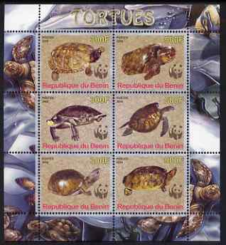 Benin 2008 WWF - Tortoises perf sheetlet containing 6 values, unmounted mint