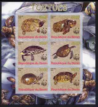 Benin 2008 WWF - Tortoises imperf sheetlet containing 6 values, unmounted mint
