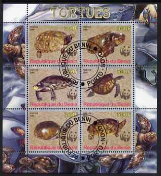 Benin 2008 WWF - Tortoises perf sheetlet containing 6 values, fine cto used