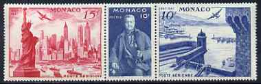 Monaco 1947 International Centenary Stamp Exhibition se-tenant strip of 3 unmounted mint, SG 336a