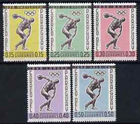 Paraguay 1962 Previous Olympic Games 'Postage' set of 5 values showing Discus Thrower, unmounted mint