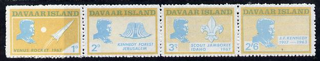 Davaar Island 1967 J F Kennedy perf def strip of 4 (Scouts & Space) unmounted mint