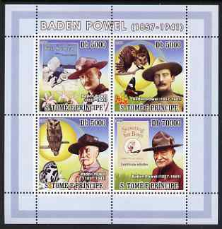 St Thomas & Prince Islands 2008 Baden Powell perf sheetlet containing 4 values unmounted mint