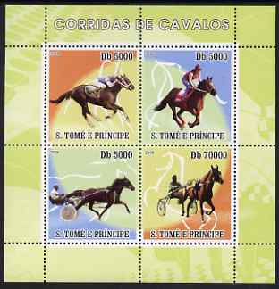 St Thomas & Prince Islands 2008 Horse Racing perf sheetlet containing 4 values unmounted mint