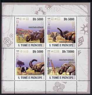 St Thomas & Prince Islands 2008 Elephants perf sheetlet containing 4 values unmounted mint
