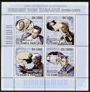 St Thomas & Prince Islands 2008 Herbert Von Karajan (composer) perf sheetlet containing 4 values unmounted mint