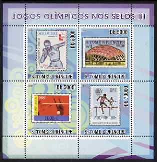 St Thomas & Prince Islands 2008 Olympic Games on Stamps #3 perf sheetlet containing 4 values unmounted mint