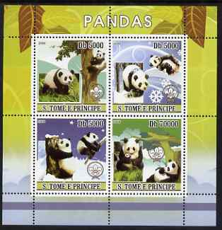 St Thomas & Prince Islands 2008 Pandas perf sheetlet containing 4 values each with Scout Logo, unmounted mint