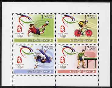 Guinea - Bissau 2008 Beijing Olympic Games perf sheetlet containing 4 values unmounted mint