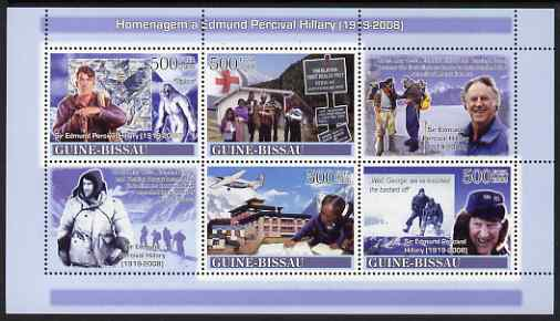 Guinea - Bissau 2008 Tribute to Edmund Hillary (mountaineer) perf sheetlet containing 4 values & 2 labels unmounted mint