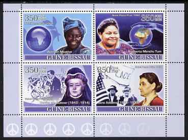 Guinea - Bissau 2008 Female Heroes of Peace - Nobel Prize Winners #1 perf sheetlet containing 4 values unmounted mint