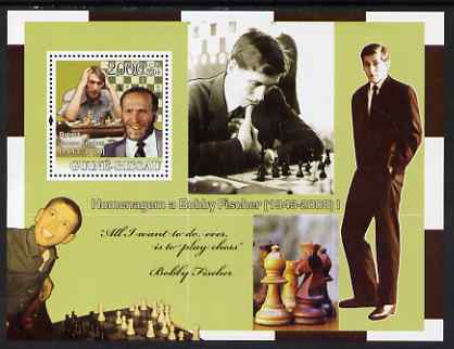 Guinea - Bissau 2008 Chess Champions - Tribute to Bobby Fischer #1 perf souvenir sheet unmounted mint