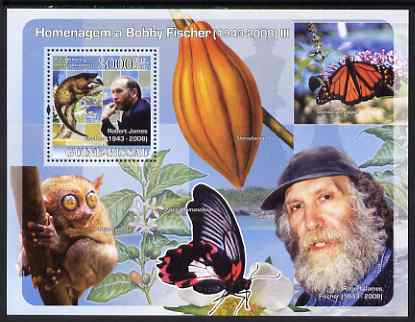 Guinea - Bissau 2008 Chess Champions - Tribute to Bobby Fischer #3 perf souvenir sheet unmounted mint , stamps on chess, stamps on butterflies, stamps on fruit
