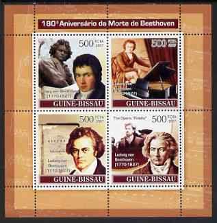Guinea - Bissau 2007 Ludwig Van Beethoven perf sheetlet containing 4 values unmounted mint
