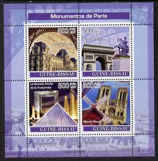 Guinea - Bissau 2007 Monuments of Paris perf sheetlet containing 4 values unmounted mint