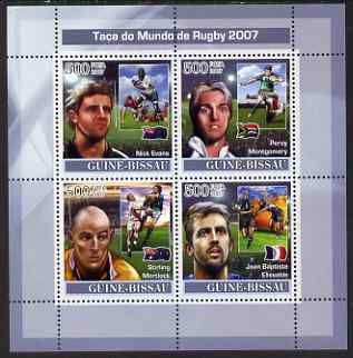 Guinea - Bissau 2007 Rugby World Cup perf sheetlet containing 4 values unmounted mint