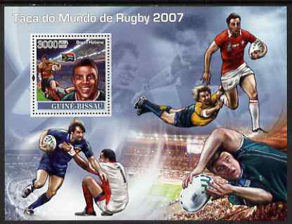 Guinea - Bissau 2007 Rugby World Cup perf souvenir sheet unmounted mint