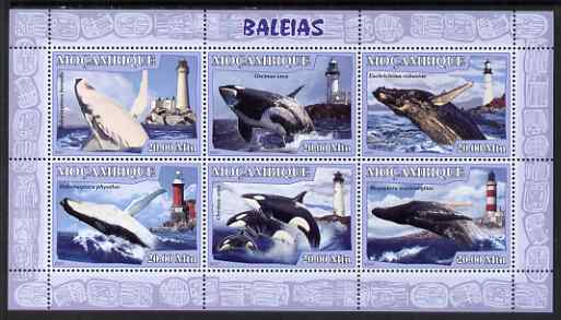 Mozambique 2007 Whales & Lighthouses perf sheetlet containing 6 values unmounted mint Yv 2348-53