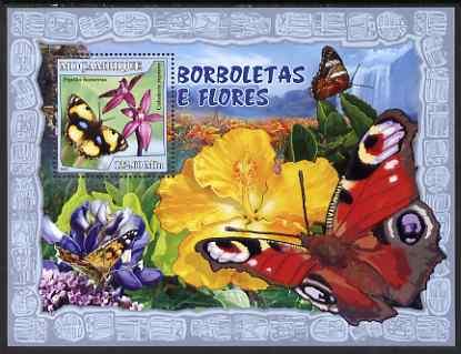 Mozambique 2007 Butterflies & Flowers perf souvenir sheet unmounted mint Yv 155