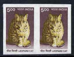 India 2002 Leopard Cat 5r imperf pair plus normal perf pair, both unmounted mint, SG 1928var