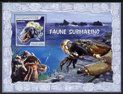 Mozambique 2007 Shellfish perf souvenir sheet unmounted mint Yv 160, stamps on crabs, stamps on marine life, stamps on shells, stamps on fish, stamps on maps