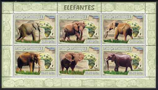 Mozambique 2007 Elephants perf sheetlet containing 6 values unmounted mint Yv 2408-13