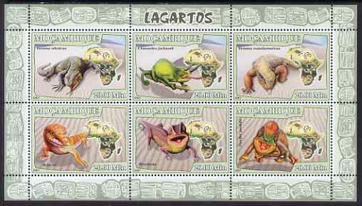 Mozambique 2007 Lizards perf sheetlet containing 6 values unmounted mint Yv 2426-31