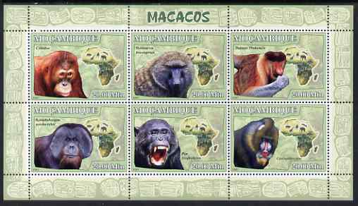 Mozambique 2007 Apes perf sheetlet containing 6 values unmounted mint Yv 2438-43