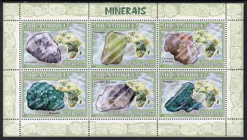 Mozambique 2007 Minerals #1 perf sheetlet containing 6 values unmounted mint Yv 2444-49