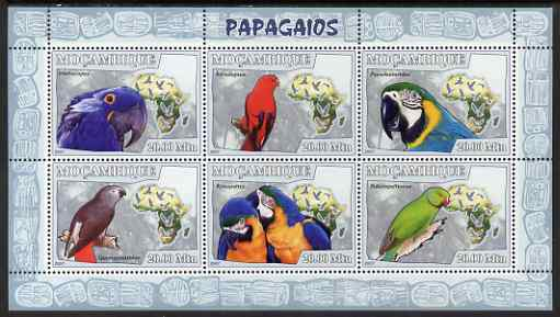 Mozambique 2007 Parrots perf sheetlet containing 6 values unmounted mint Yv 2468-73