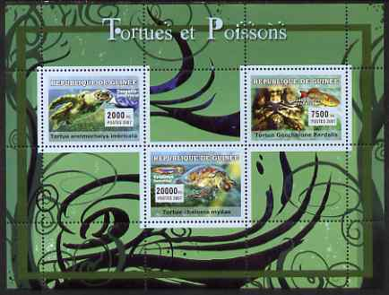 Guinea - Conakry 2007 Turtles & Fish perf sheetlet containing 3 values unmounted mint Yv 2918-20