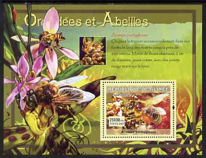 Guinea - Conakry 2007 Orchids & Bees perf souvenir sheet #1 unmounted mint Yv 531