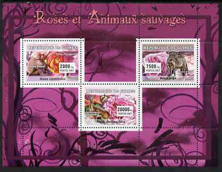 Guinea - Conakry 2007 Roses & Wild Animals perf sheetlet containing 3 values unmounted mint Yv 2930-32