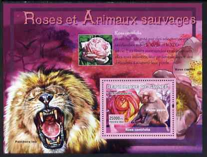 Guinea - Conakry 2007 Roses & Wild Animals perf souvenir sheet #1 unmounted mint Yv 534