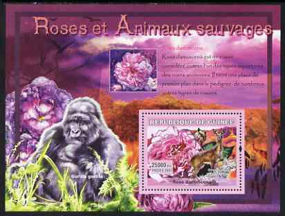 Guinea - Conakry 2007 Roses & Wild Animals perf souvenir sheet #3 unmounted mint Yv 536