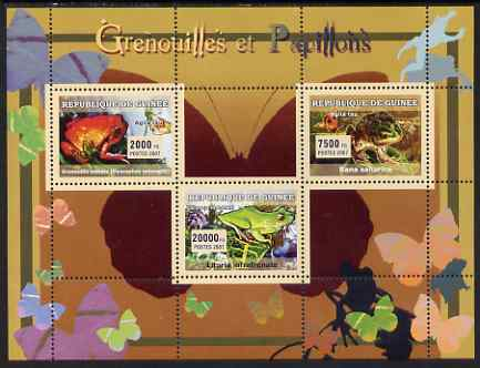 Guinea - Conakry 2007 Frogs & Butterflies perf sheetlet containing 3 values unmounted mint Yv 2933-35