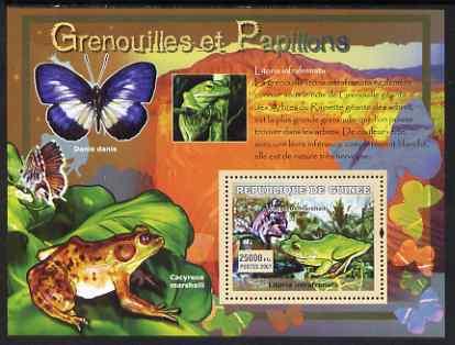 Guinea - Conakry 2007 Frogs & Butterflies perf souvenir sheet #3 unmounted mint Yv 539