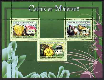 Guinea - Conakry 2007 Cacti & Minerals perf sheetlet containing 3 values unmounted mint Yv 2948-50