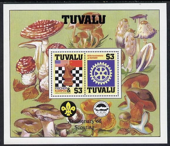 Tuvalu 1986 Events perf m/sheet showing Chess, Rotary, Scout Anniversary with decoative border (Fungi) unmounted mint as SG MS 376