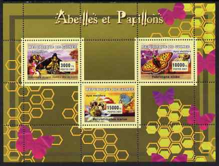 Guinea - Conakry 2007 Bees & Butterflies perf sheetlet containing 3 values unmounted mint Yv 2951-53