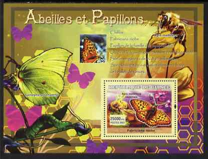 Guinea - Conakry 2007 Bees & Butterflies perf souvenir sheet #2 unmounted mint Yv 556