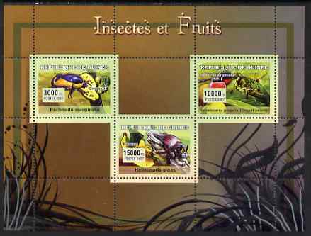 Guinea - Conakry 2007 Insects & Fruit perf sheetlet containing 3 values unmounted mint Yv 2954-56