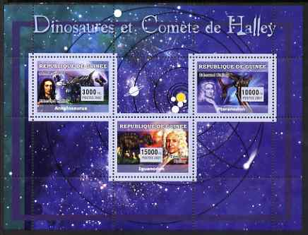 Guinea - Conakry 2007 Dinosaurs & Halleys Comet perf sheetlet containing 3 values unmounted mint Yv 2960-62, stamps on dinosaurs, stamps on comets, stamps on halley, stamps on space, stamps on astronomy