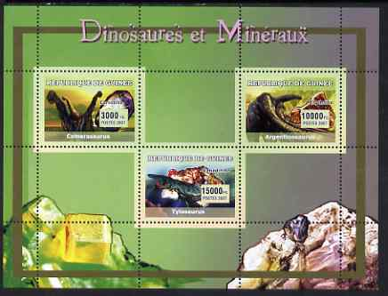 Guinea - Conakry 2007 Dinosaurs & Minerals perf sheetlet containing 3 values unmounted mint Yv 2963-65